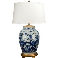 CHINESE CLASSIC BLUE AND WHITE PORCELAIN LAMP with flowers ...
