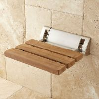 Signature Hardware Teak Fold Up Shower Seat | eBay