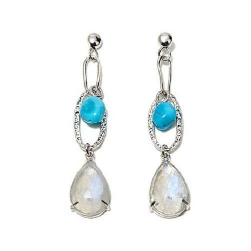 HERITAGE GEMS STERLING SILVER TURQUOISE AND MOONSTONE