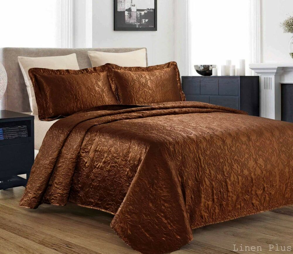 3 Piece Silky Satin Brown Quilted Bedspread Coverlet Set