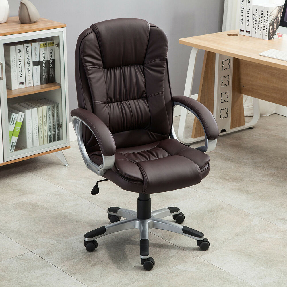 Executive High Back PU Leather Computer Desk Ergonomic Task Office Chair Brown  eBay