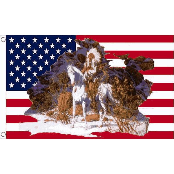 USA Indian Chief On Horse Flag 5 x 3 FT United States