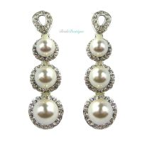 Vintage Style Silver Crystal & Pearl Drop Dangle Dangly