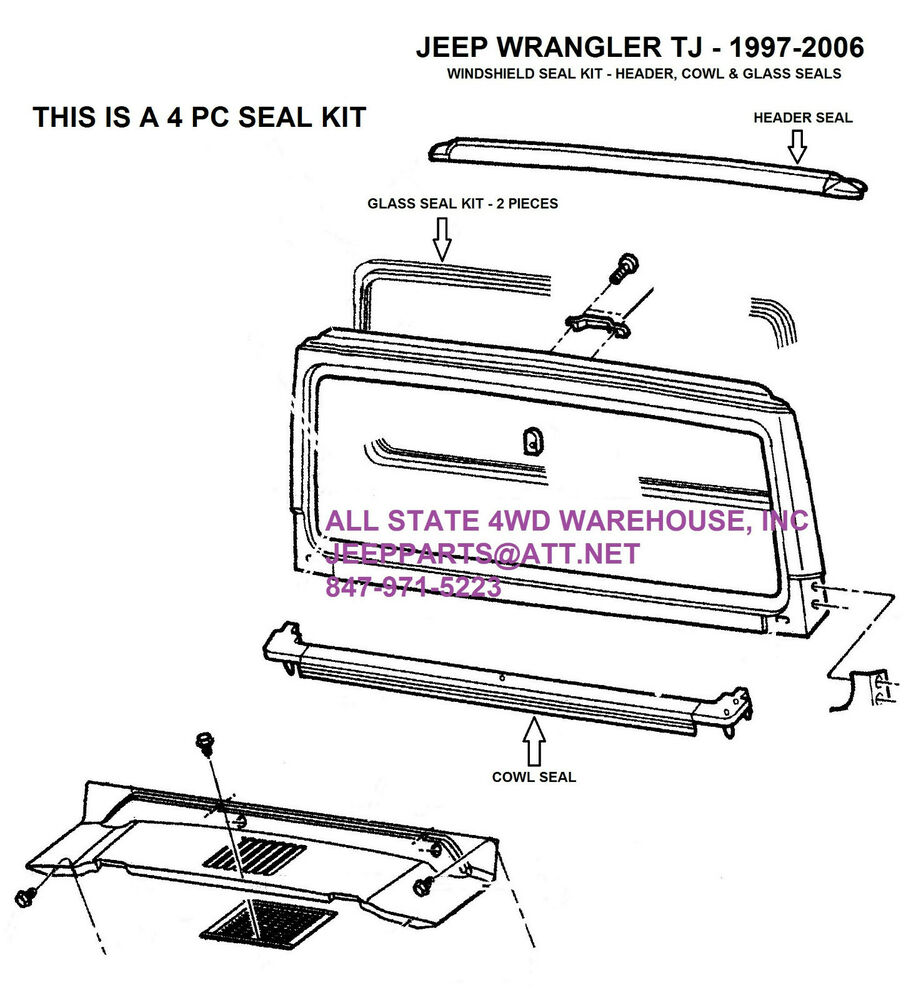 WINDSHIELD FRAME HEADER, COWL & GLASS SEALS 1997-2006 JEEP