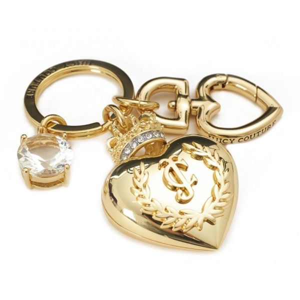 Juicy Couture Gold Tone Large Heart Crown Crystal Bling