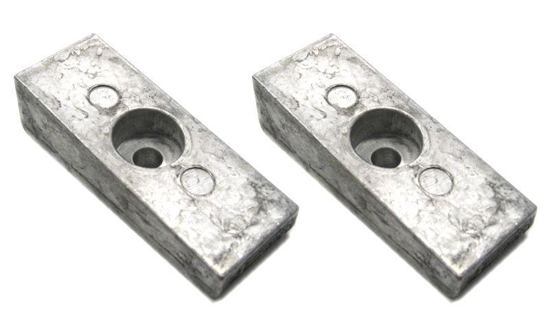 2 Aluminum Wedge Anode for Mercury Outboard 826134Q 50/60