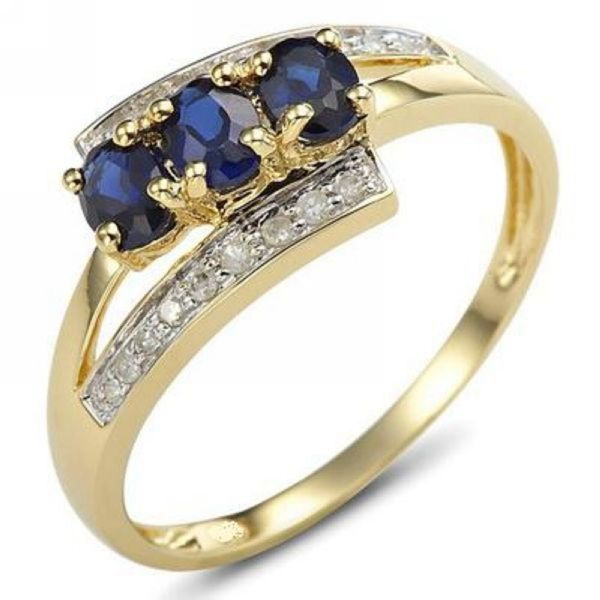 Size 6789 Bridal Blue Sapphire 18K Gold Filled Womens