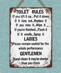 Shabby chic grunge style metal hanging sign Toilet rules ...