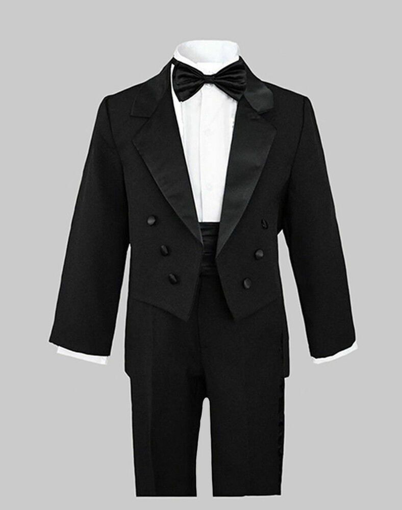 BOY RECITAL RING BEARER TUXEDOS With TAILS BLACK 2T to