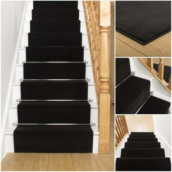 Black Stairs with Carpet Runner