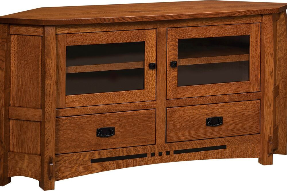 Amish Mission Colebrook Solid Wood Corner TV Stand Console