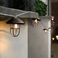 10 LED BATTERY OUTDOOR GARDEN VINTAGE LANTERN CLEAR CABLE ...