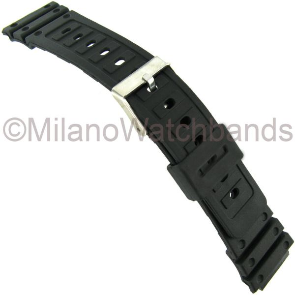 18mm Timex Black Rubber Fits Casio -shock Mens