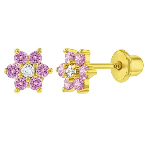 18k Gold Plated Flower Baby Earrings Screw Kids Pink Clear 5mm 638872386979