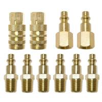"10 Pc 1/4"" NPT Brass Air Tool Couplers W/ Adapter Quick"