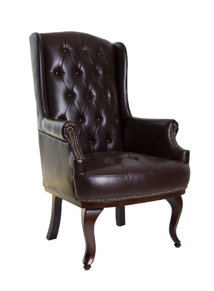 Chesterfield Queen Anne Style High Back Chair Leather