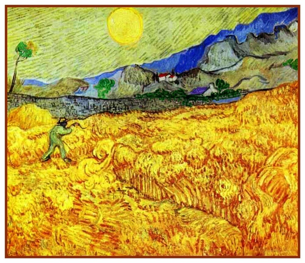 Farm Worker Reaping Wheat By Vincent Van Gogh Counted