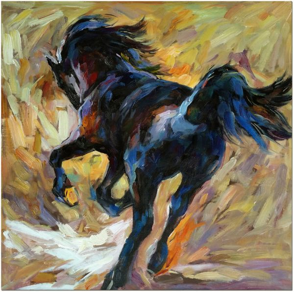 Hand Painted Abstract Black Horse Oil Painting 20x20