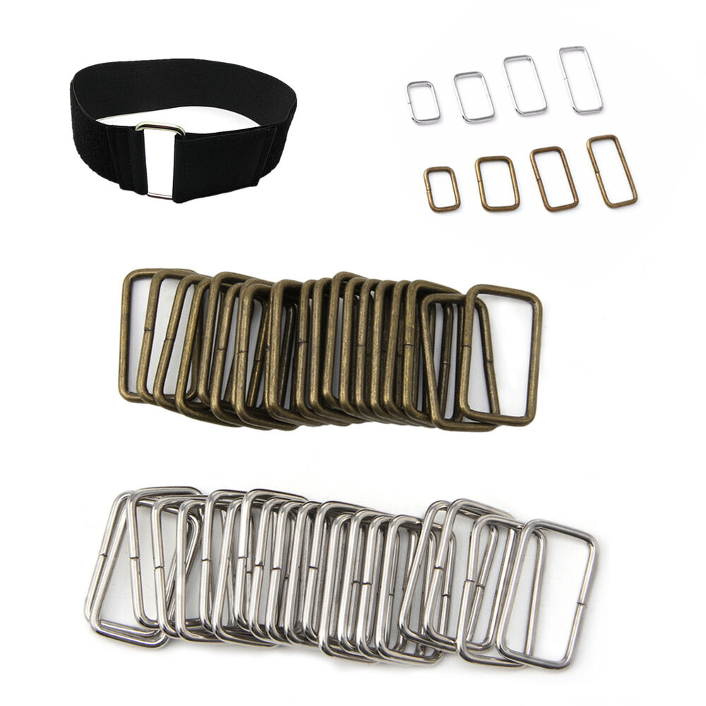 20pcs Belt/Bag Buckles Metal Wire Rectangle Ring Loops