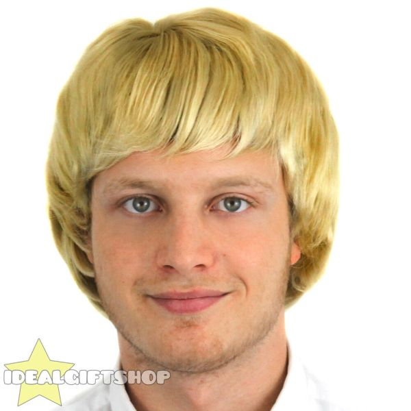 Mens Blonde Wig Adult Boyband 1960' 1970s 1980s