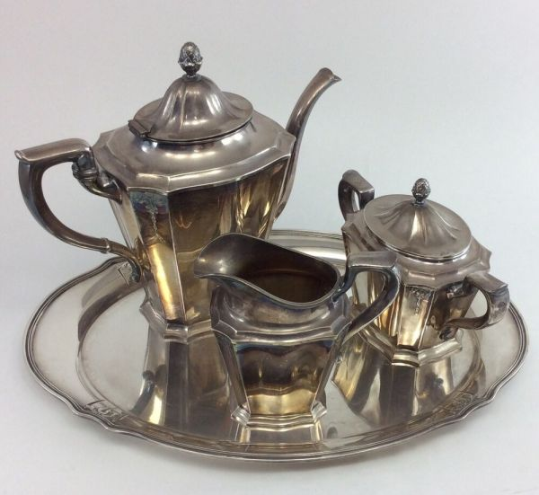 Gorham Silverplate Antique 1929 Art Nouveau Coffee Tea Set