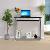 Black Glass Chrome Console Table Large Hall Table Modern ...