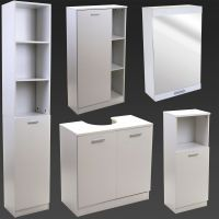 White Bathroom Furniture Storage Cupboard Cabinet Shelves