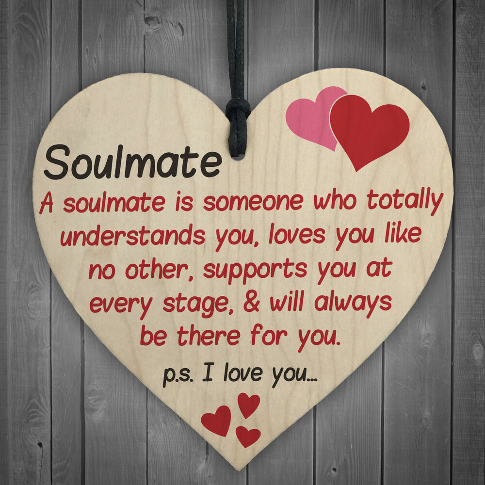 Soulmate I Love You Hanging Wooden Heart Valentines Day