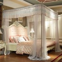 Luxury bed canopy curtain valance lace stainless steel ...