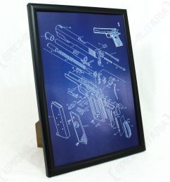 details about us colt 1911 pistol framed blueprint print picture american ww2 military army [ 1000 x 1000 Pixel ]
