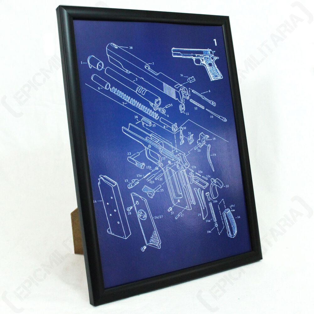 medium resolution of details about us colt 1911 pistol framed blueprint print picture american ww2 military army