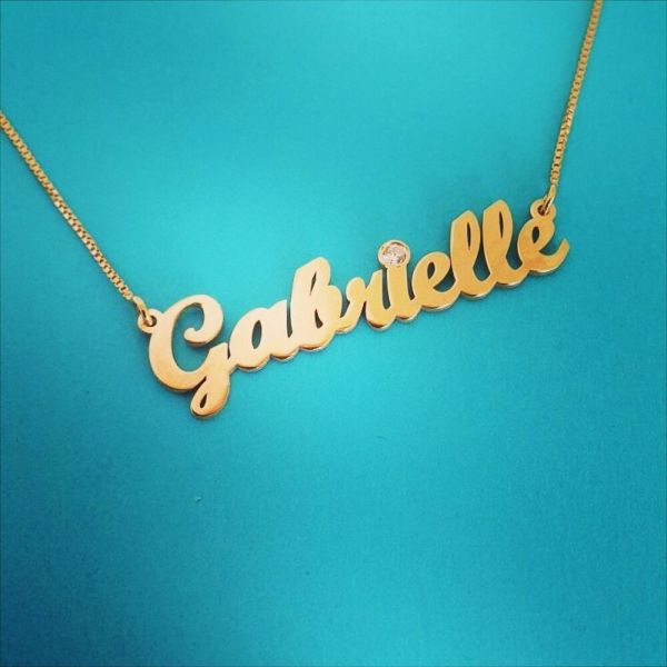 Karat Gold Chain 14k Nameplate Necklace Ct Carat Order