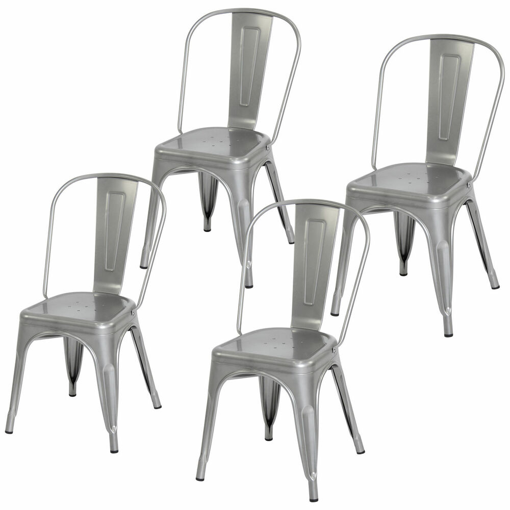 Heavy Duty Dining Room Chairs 4 Piece Heavy Duty Stacking Metal Industrial Kitchen Bar Dining Room Chairs Set Ebay