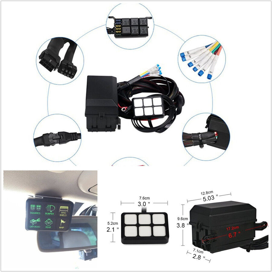 medium resolution of details about 6 gang 6led autos switch panel relay control box wiring harness dc12v universal