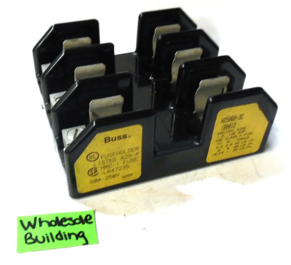 hight resolution of details about buss h25060 3c fuse holder 60 amp 250 volts fuse block 3 pole class h