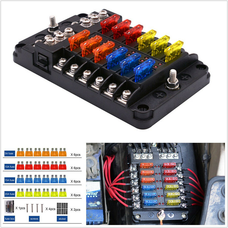 hight resolution of details about 12 way car suv marine boat 12 24v blade fuse holder box 24 fuses 5a 10a 15a 20a