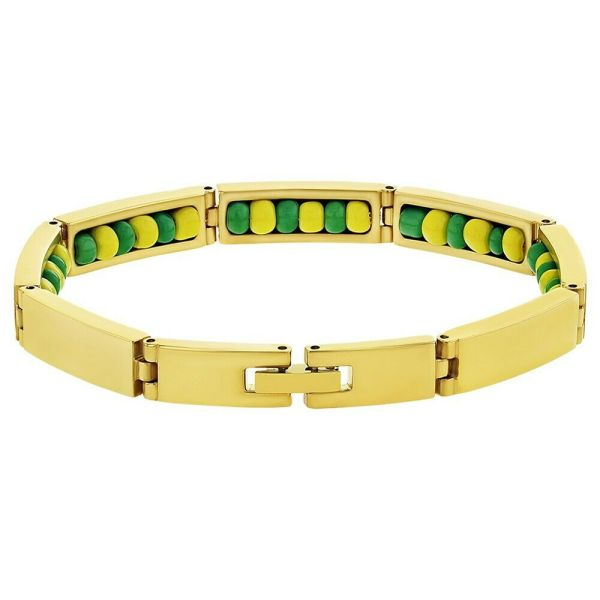 Stainless Steel Gold Tone Green Yellow Santeria Babalawo