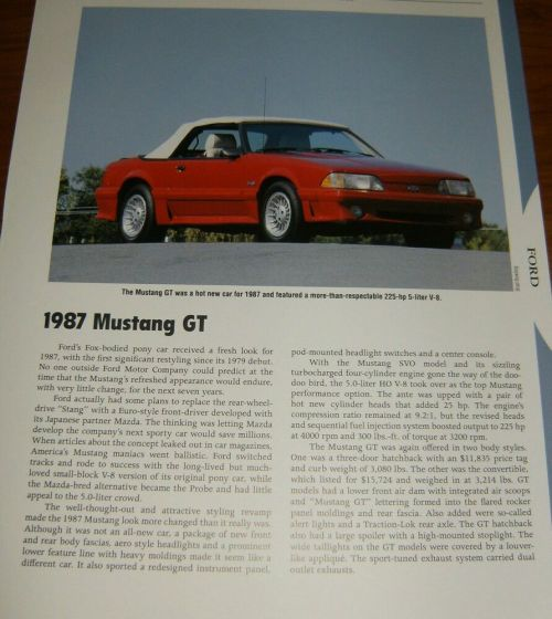 small resolution of details about 1987 mustang gt specs info photo 87 93 convertible gt lx 5 0 302