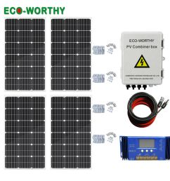 details about eco 400w off grid solar panel system 100w solar panel home power charger kit [ 1000 x 1000 Pixel ]