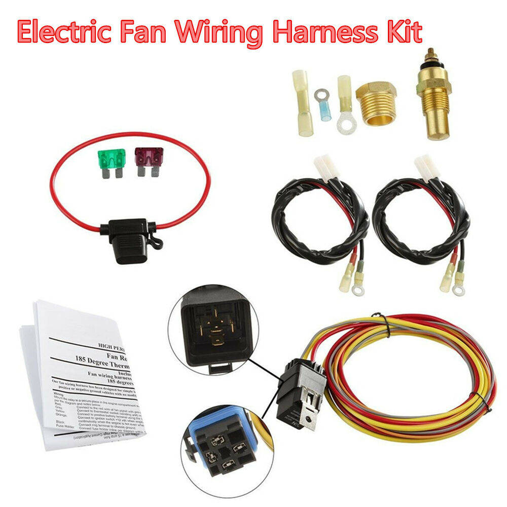 medium resolution of details about car dual electric cooling fan wiring harness install kit 185 165 thermostat 40a