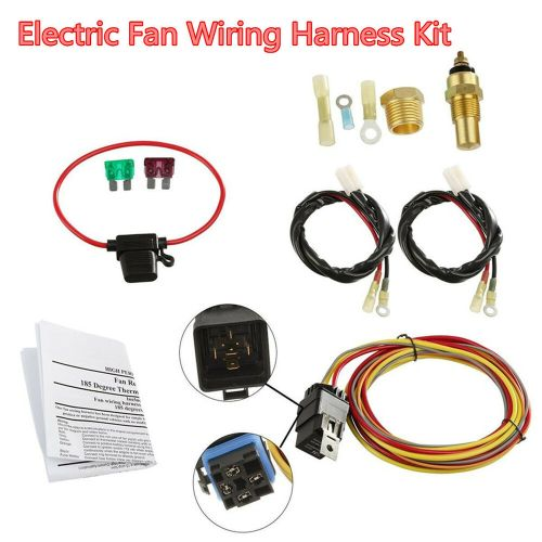 small resolution of details about car dual electric cooling fan wiring harness install kit 185 165 thermostat 40a