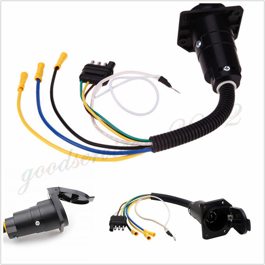 hight resolution of details about car suv trailer wiring adapter plug 4pin flat to 7pin round towbar socket 12v x1