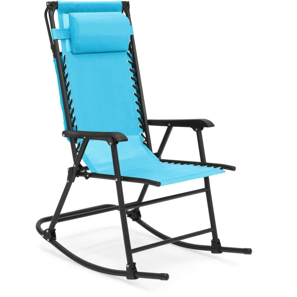 Fold Up Chair With Canopy Blue Mesh Seat Zero Gravity Folding Rocking Chair Canopy Outdoor Patio Furniture Ebay