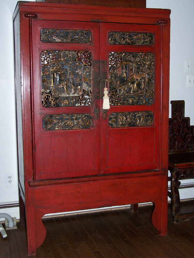 Chinese Antique Red Armoire  Beautifully Carved Panels  eBay