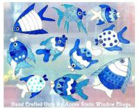 BLUE FISH BATHROOM WINDOW CLING STAINED GLASS LOOk DECAL