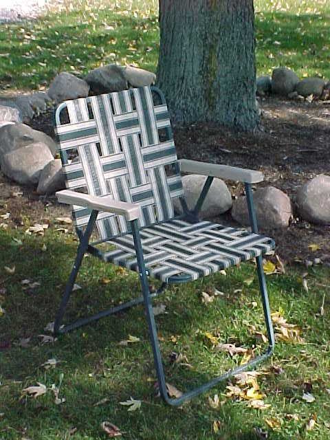 FOLDING WEBBED LAWN CHAIR Dark Green  Tan  eBay