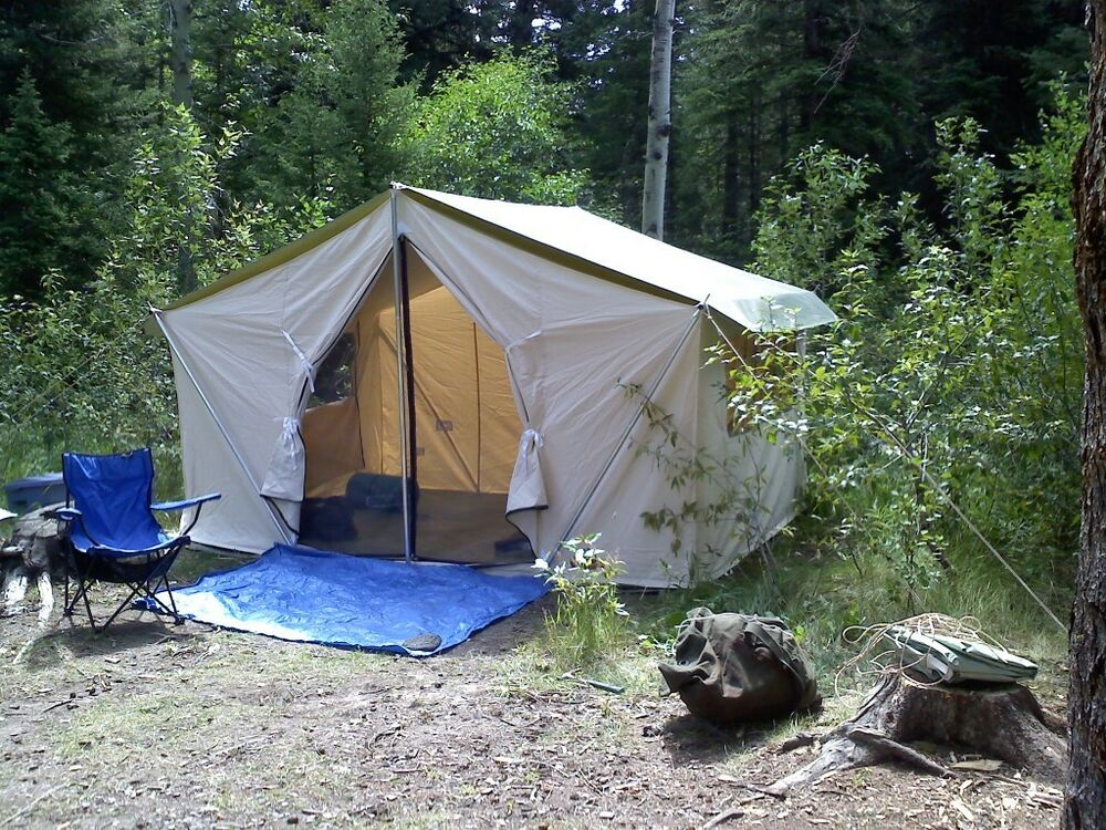Beautiful New 12x9x5ft Canvas Wall Tent W Poles And Floor