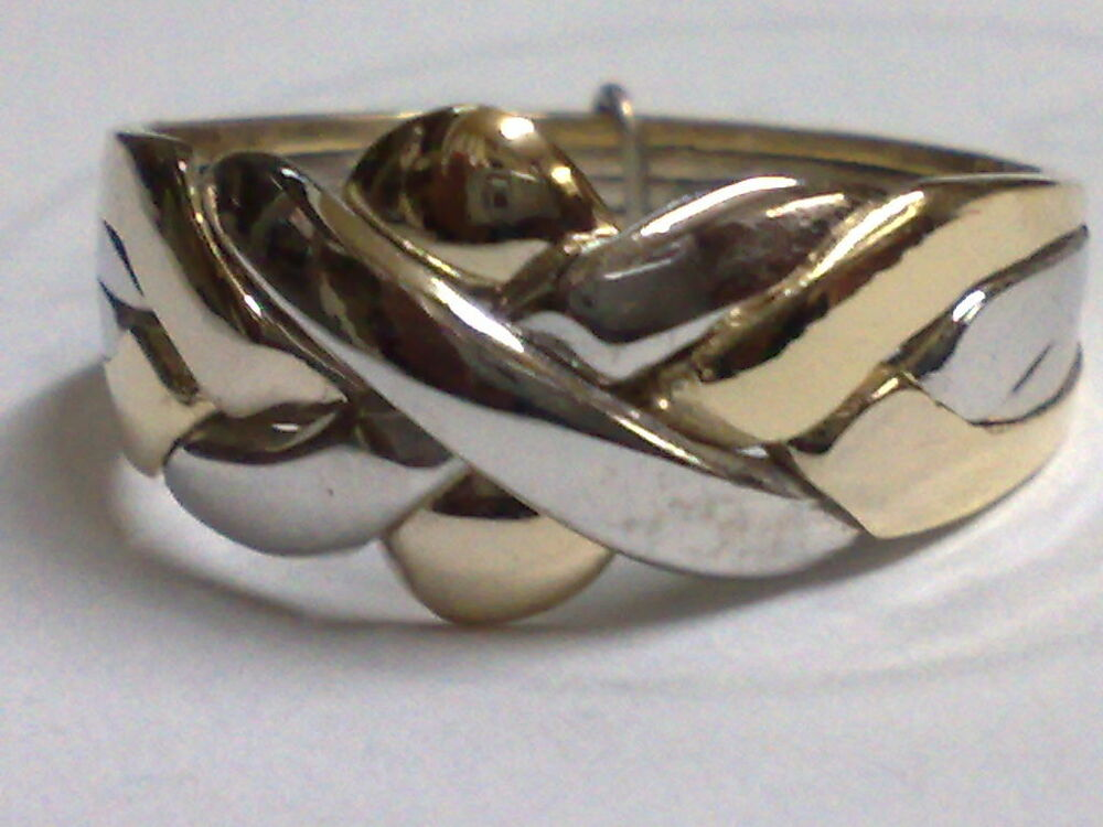 14k Gold Turkish Puzzle Ring 4 Band  2 White  2 Yellow Gold ALL SHIP FREE  eBay