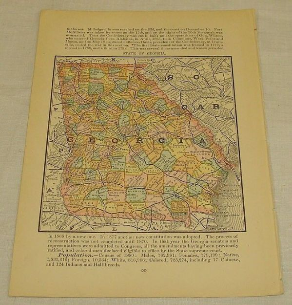 1884 Antique Color Map of STATE OF NEBRASKARand McNally
