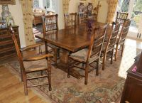 Farmhouse Kitchen Refectory Table Spindleback Chair Set ...